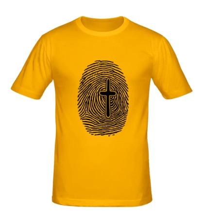 Мужская футболка Отпечаток пальца с крестом