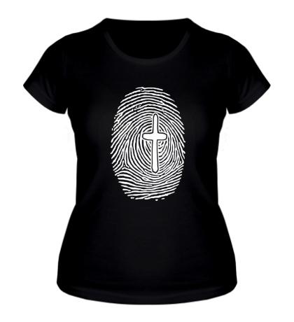 Женская футболка Отпечаток пальца с крестом
