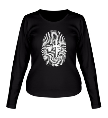 Женский лонгслив Отпечаток пальца с крестом