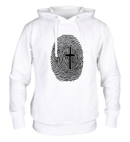 Толстовка с капюшоном Отпечаток пальца с крестом