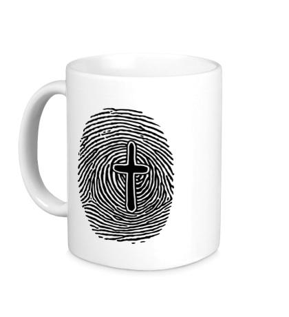 Керамическая кружка Отпечаток пальца с крестом
