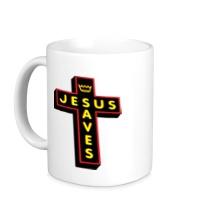 Керамическая кружка Jesus Saves Cross