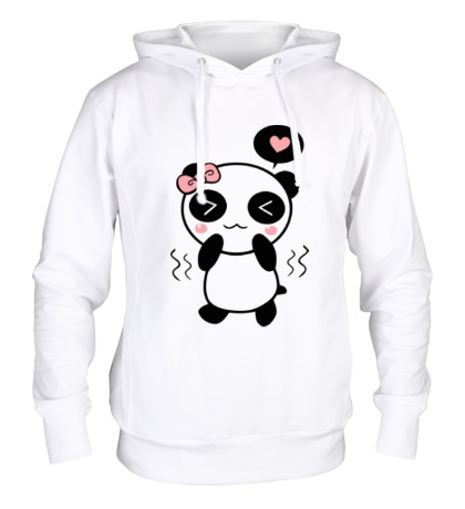 Толстовка с капюшоном Влюбленная панда девочка