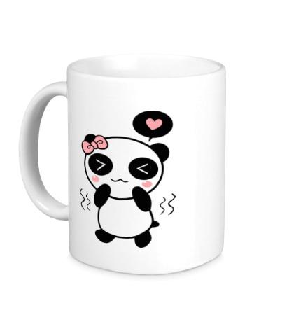 Керамическая кружка Влюбленная панда девочка