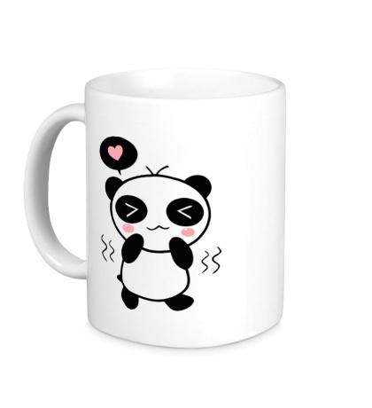 Керамическая кружка Влюбленная панда мальчик