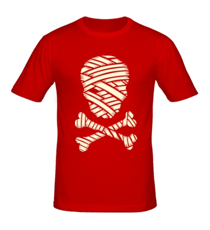 Мужская футболка Череп мумии, свет
