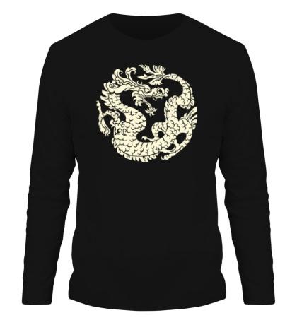 Мужской лонгслив Китайский дракон рисунок свет