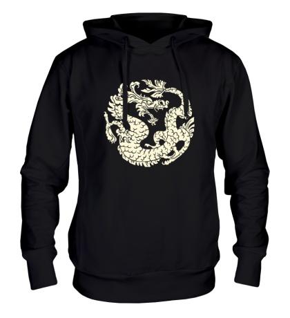 Толстовка с капюшоном Китайский дракон рисунок свет