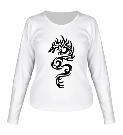 Женский лонгслив Тату огненный дракон
