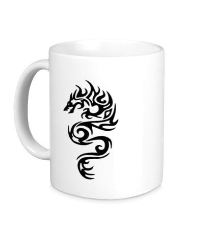Керамическая кружка Тату огненный дракон