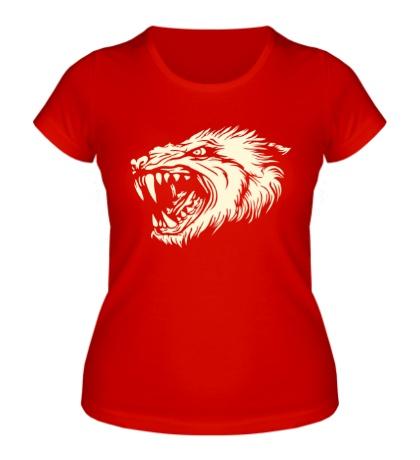 Женская футболка Волчья ярость, свет