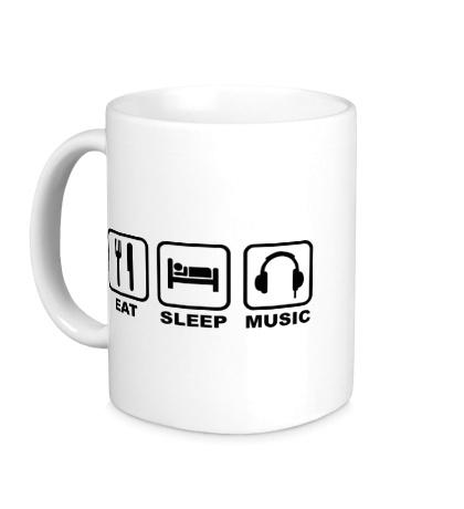 Керамическая кружка Eat Sleep Music