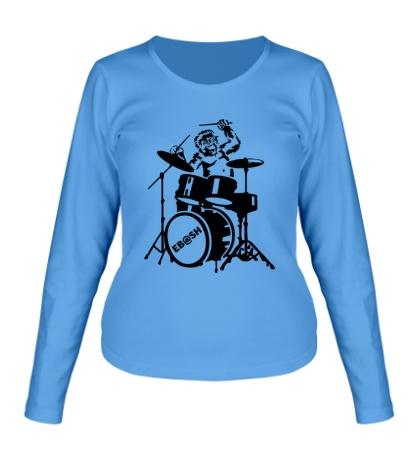 Женский лонгслив Обезьяна с барабанами