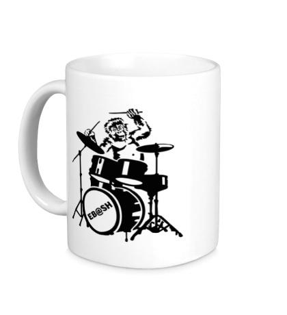 Керамическая кружка Обезьяна с барабанами