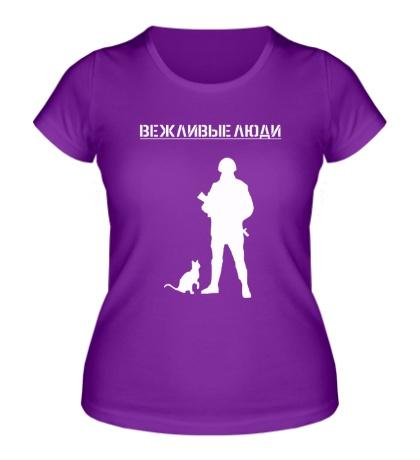 Женская футболка Вежливый человек с кошкой