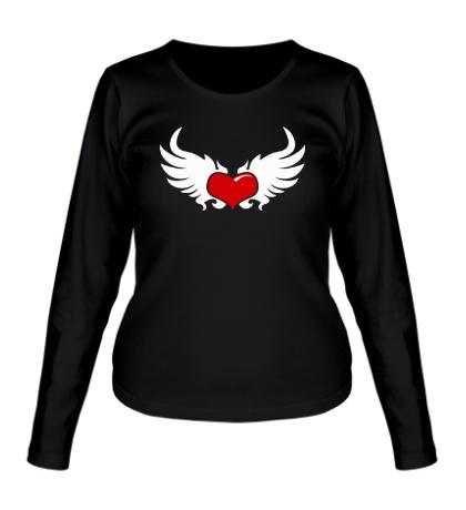 Женский лонгслив Сердце с крыльями
