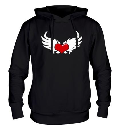 Толстовка с капюшоном Сердце с крыльями