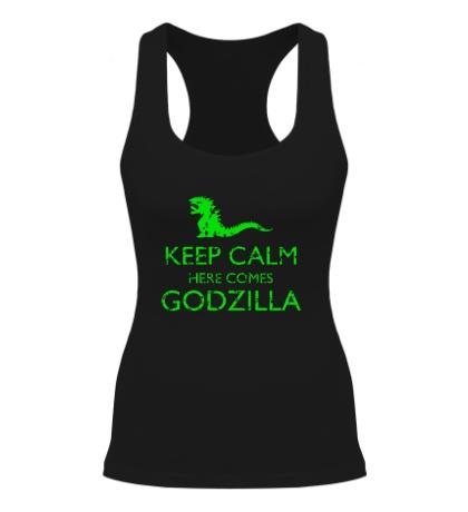 Женская борцовка Keep Calm here comes Godzilla