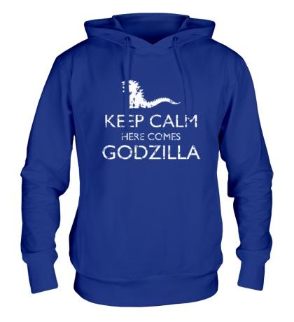 Толстовка с капюшоном Keep Calm here comes Godzilla