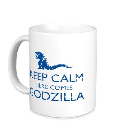 Керамическая кружка Keep Calm here comes Godzilla