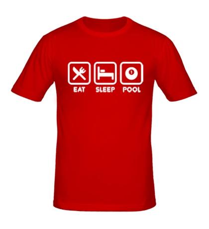 Мужская футболка Еда, сон и бильярд