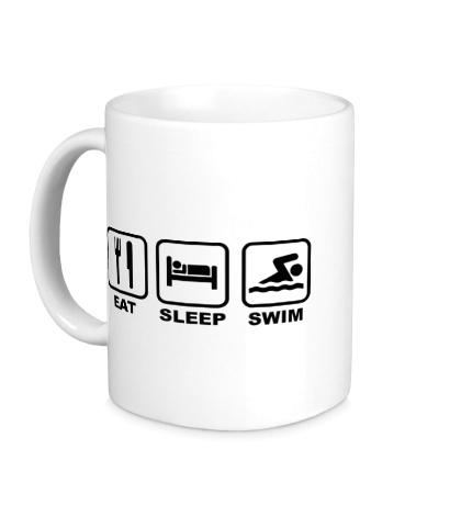 Керамическая кружка Еда, сони плавание