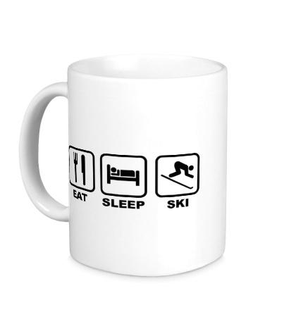 Керамическая кружка Eat Sleep Ski
