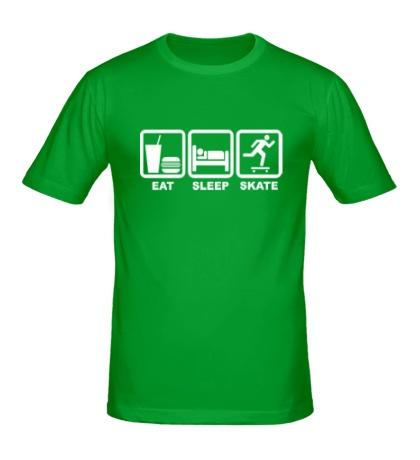 Мужская футболка Еда, сон и скейт