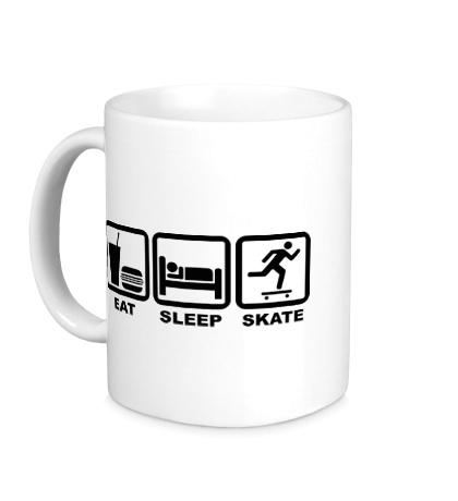 Керамическая кружка Еда, сон и скейт