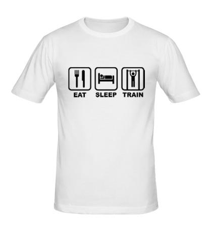 Мужская футболка Еда, сон и тренировка