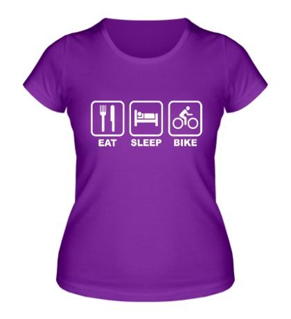 Женская футболка Eat Sleep Bike