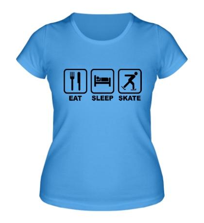 Женская футболка Eat sleep skate