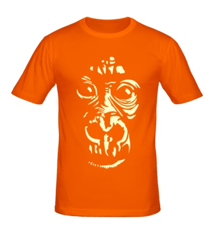 Мужская футболка Лицо шимпанзе, свет