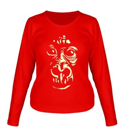 Женский лонгслив Лицо шимпанзе, свет