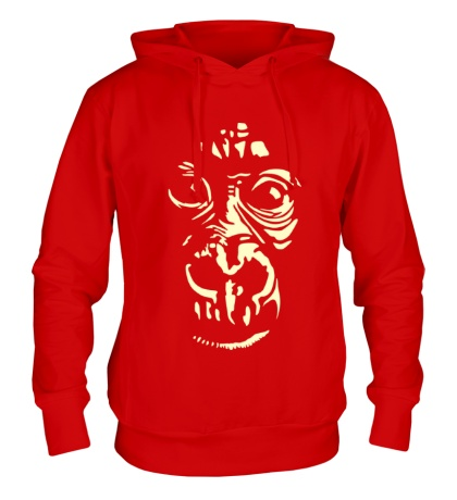 Толстовка с капюшоном Лицо шимпанзе, свет