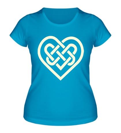 Женская футболка Сердце из кельтских узоров свет