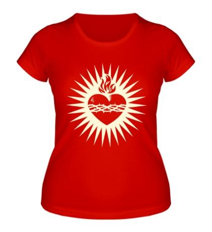 Женская футболка Пылающее сердце свет