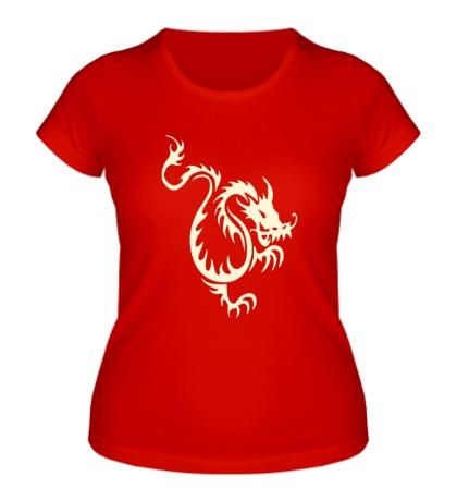 Женская футболка Китайский водяной дракон свет
