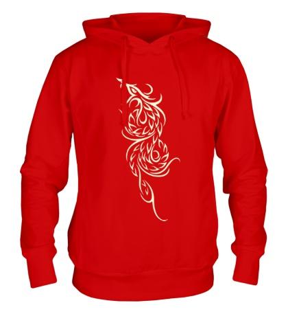 Толстовка с капюшоном Эскиз огненного дракона, свет