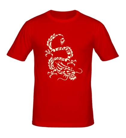 Мужская футболка Дракон-змей, свет