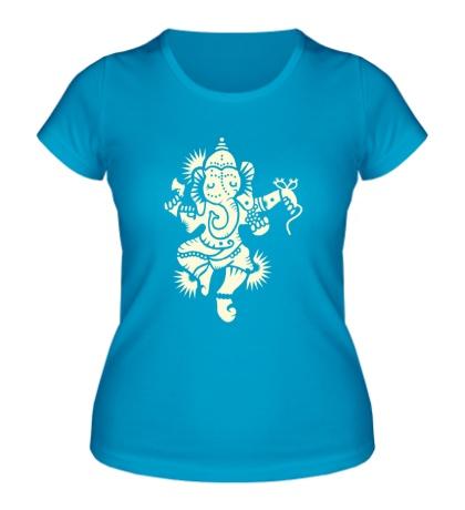 Женская футболка Божество Ганеша, свет