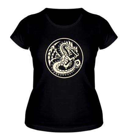 Женская футболка Древний дракон, свет