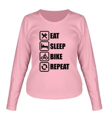Женский лонгслив Eat sleep bike repeat