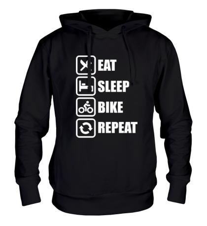 Толстовка с капюшоном Eat sleep bike repeat