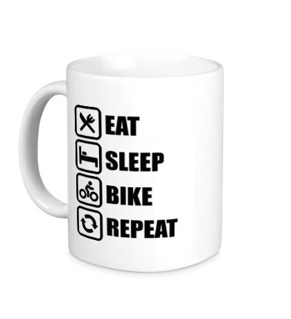 Керамическая кружка Eat sleep bike repeat