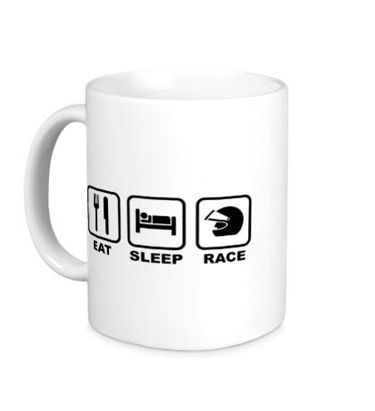 Керамическая кружка Eat Sleep Race