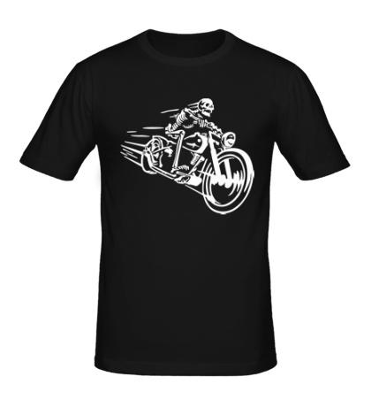 Мужская футболка Скелет на мотоцикле