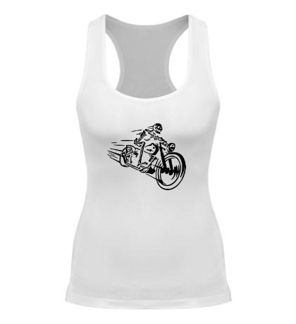 Женская борцовка Скелет на мотоцикле