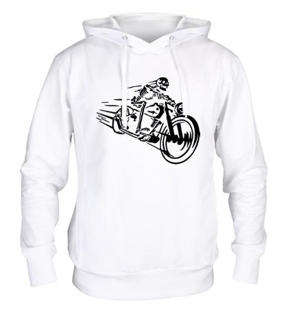 Толстовка с капюшоном Скелет на мотоцикле