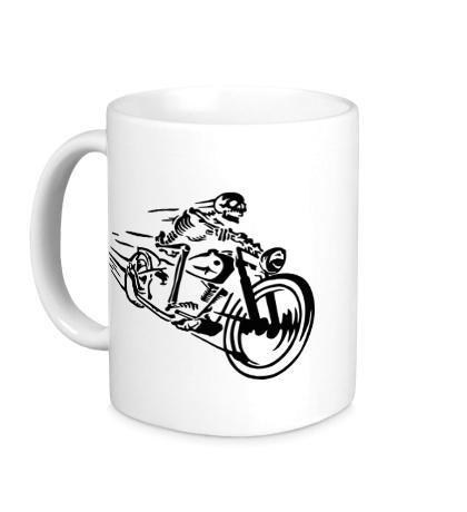 Керамическая кружка Скелет на мотоцикле